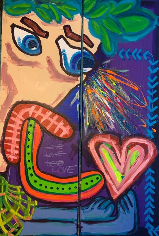 GIFT OF LOVE - 80 (2x40) x 120 x 1.5 cm - Clear Varnish -Signed
