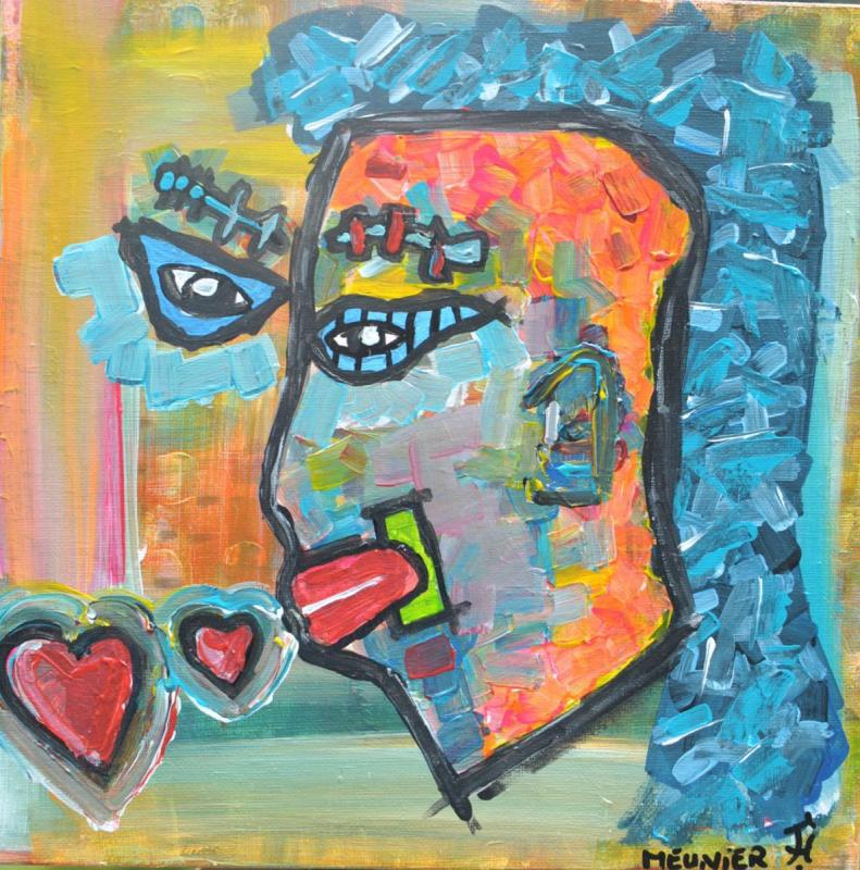 LOVE YOU - 29.5x29.5x3.5cm - acrylic - clear varnish - signed - 350 €