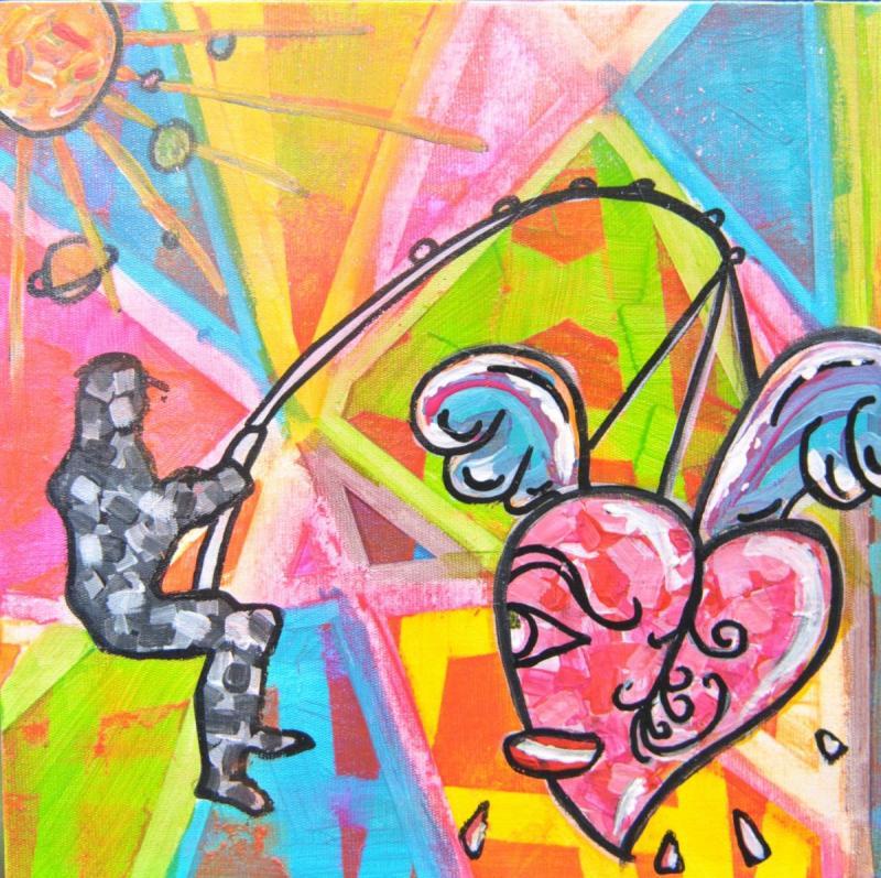 MOTHERDAY - 24.5 x 24.5 x 0.5cm - acrylic - clear varnish -Cardboard canvas- signed - 150 €
