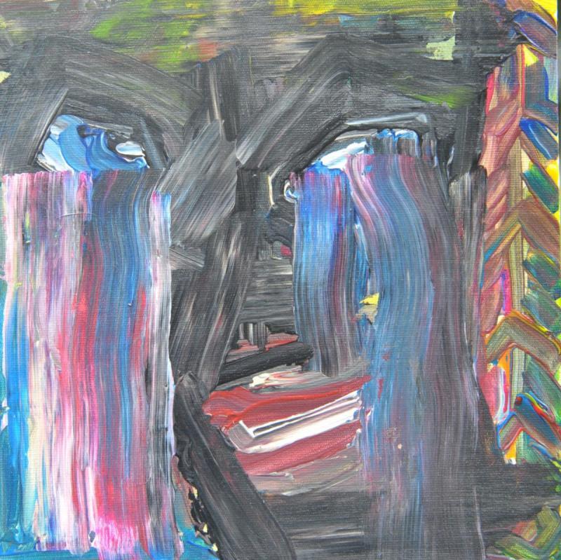RAINTEARS - 24.5 x 24.5 x 0.5cm - acrylic - clear varnish -Cardboard canvas- signed - 150 €